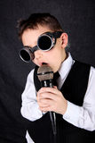 Little boy singer. With mic royalty free stock photography