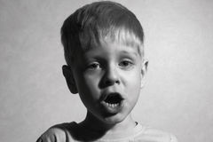 Little boy singing Stock Images