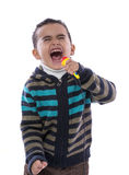 Little Boy Singing Loudly. Isolated on White Background royalty free stock images