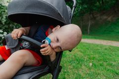 A little boy sits in a baby carriage by a beautiful bush on a sunny day. royalty free stock images