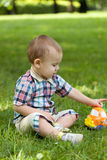 Little boy sits on a grass Stock Photography