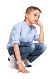 Little Boy Sitted on Floor Stock Image