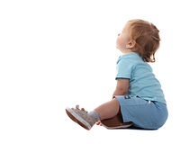 Little boy sitting. Little boy stting and looking isolated on the white Royalty Free Stock Photos