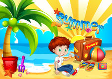 Little boy sitting on the beach Stock Photo