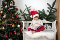 Little boy, sitting on a bench under christmas tree, eating choc stock photos