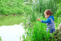 Little boy sitting in cane on riverside, throwing stones Stock Photos