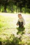 Little boy sitting in grass Stock Photos