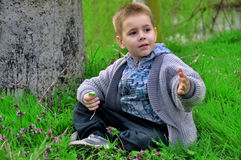 Little boy sitting on green grass Royalty Free Stock Photos
