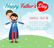Little boy sitting on his daddy`s shoulder on background card of Happy fathers Day. Superhero father and son, fathers and child, h Royalty Free Stock Images