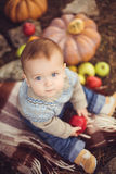 Little boy sitting outdoors in the village. Pumpkins and apples around Royalty Free Stock Photos
