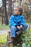 Little boy sitting on the  tree stump, fall, park Stock Photos