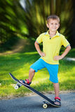 Little boy on a skateboard. Royalty Free Stock Photo