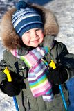 Little boy on ski. Little boy in winter  clothes skiing  outdoor in wintertime Stock Photos
