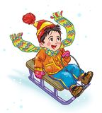 Little boy sledding cartoon. Colorful artistic drawing of happy boy  in winter clothes on a white background sledding Royalty Free Stock Photo