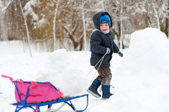 Little boy sledding in snow forest Stock Images