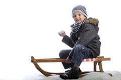 Little boy on sledge Stock Photography