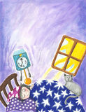 Little boy sleeping in the bed. Illustration of little boy sleeping in the bed Royalty Free Stock Image