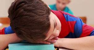 Little boy sleeping on a book in classroom. At the elementary school stock footage