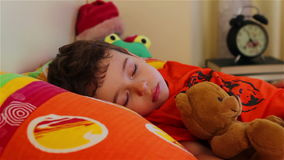 Little boy sleeping with his teddy bear stock footage