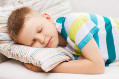 Little boy sleeping at home Stock Photography