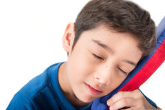 Little boy sleeping on pillow on white background Stock Photos