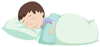 Little boy sleeping under blanket. Illustration vector illustration