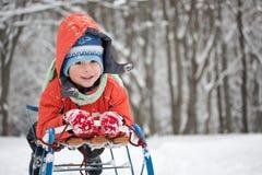 Little boy sliding Stock Images