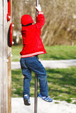 Little boy slip on pole at playground Royalty Free Stock Photo