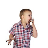 Little boy smeared with chocolate Stock Photography