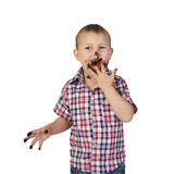 Little boy smeared with chocolate Royalty Free Stock Images