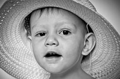 Little boy smile in a hat. The surprised little boy in a straw hat Royalty Free Stock Photography