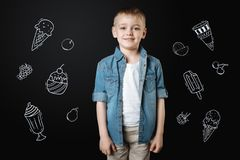 Little boy smiling while choosing ice cream in a new cafe. Tasty ice cream. Cute little boy feeling glad while coming to a new beautiful cafe and choosing the stock photos