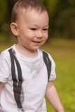 Little Boy Smiling on His Walk Stock Images