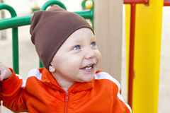 Little boy smiling portrait outside Royalty Free Stock Images