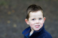 Little boy smiling in the woods Stock Image