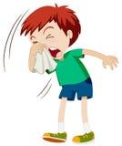 Little boy sneezing hard Stock Photography