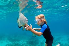 Little boy in snorkeling mask dive underwater with tropical fishes royalty free stock photography