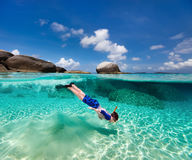 Little boy snorkeling in tropical water Royalty Free Stock Photography