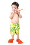 Little Boy with Snorkle and Swim Fins royalty free stock images
