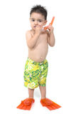 Little Boy with Snorkle and Swim Fins Stock Photo