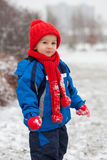 Little boy in the snow Royalty Free Stock Images