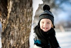 Little boy in the snow. Royalty Free Stock Photo