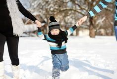 Little boy in the snow. Royalty Free Stock Photos