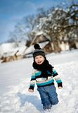 Little boy in the snow. Royalty Free Stock Images