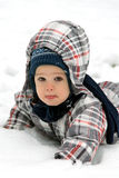 Little boy in snow Stock Photo