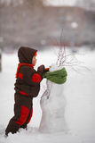 Little boy with snowman Royalty Free Stock Photos