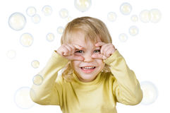 Little boy and soap bubbles Stock Photography