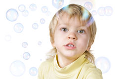 Little boy and soap bubbles Royalty Free Stock Image