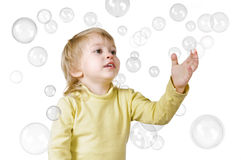 Little boy and soap bubbles Royalty Free Stock Photos