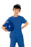 Little boy in soccer uniform Stock Photography